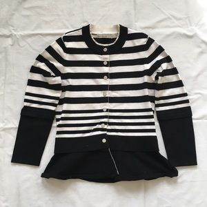 Striped Peplum Knit Cardigan